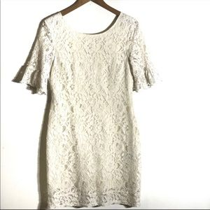 Tulle Brand Cream Lace Bell Sleeve Dress Sz S